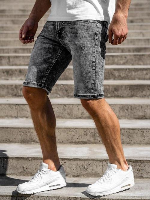Szorty jeansowe ze spranego denimu